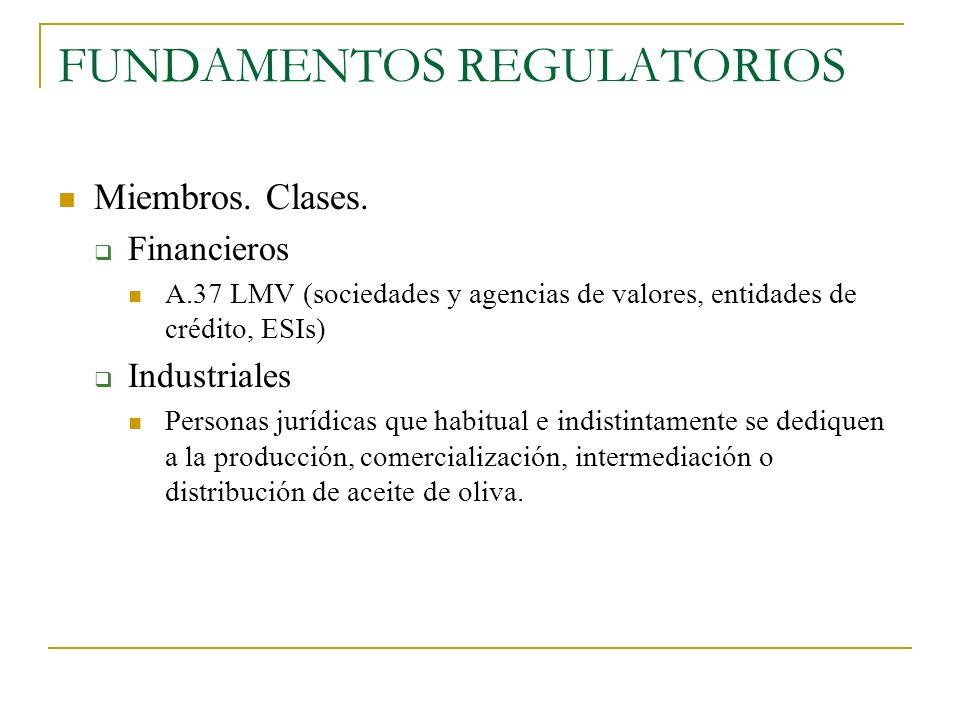 FUNDAMENTOS REGULATORIOS Miembros. Clases. Financieros A.37 LMV (sociedades y agencias de valores, entidades de crédito, ESIs) Industriales Personas j