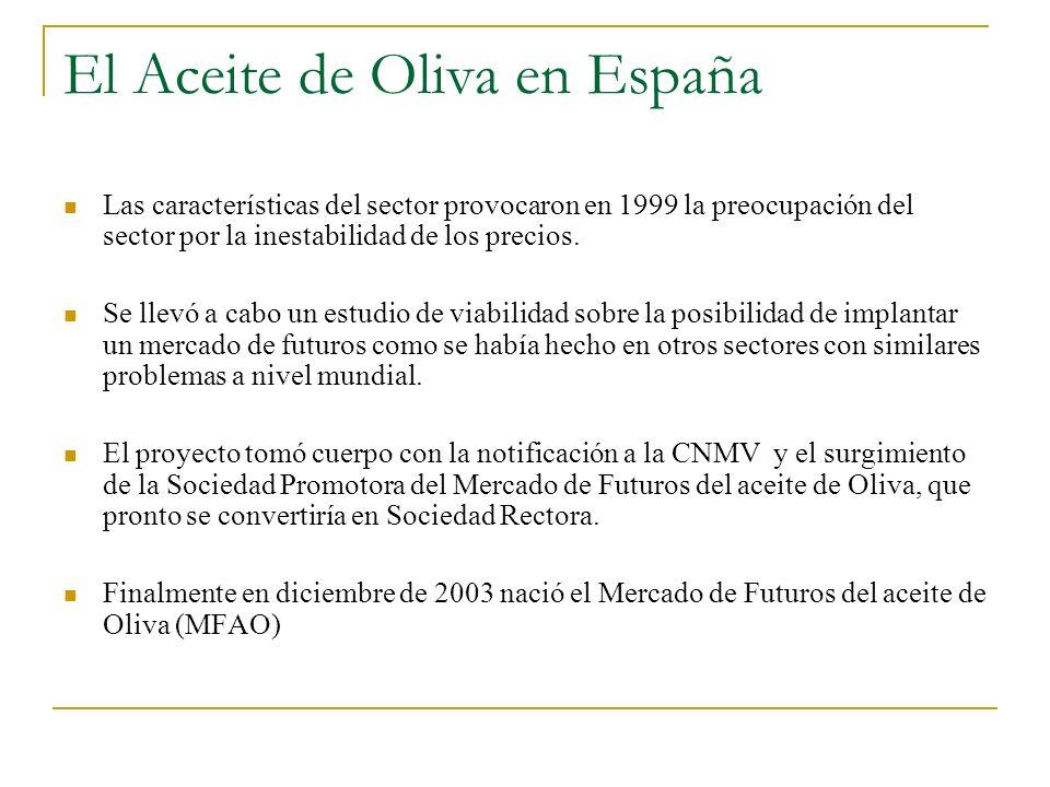 El Aceite de Oliva en España Las características del sector provocaron en 1999 la preocupación del sector por la inestabilidad de los precios. Se llev
