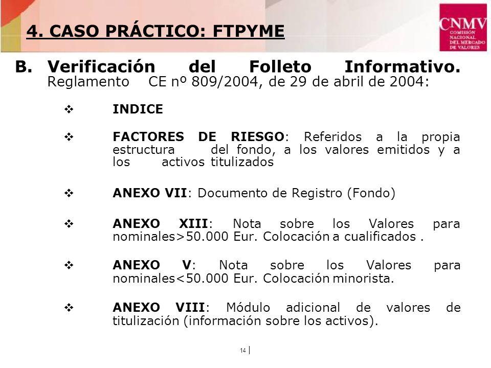 14 B.Verificación del Folleto Informativo.