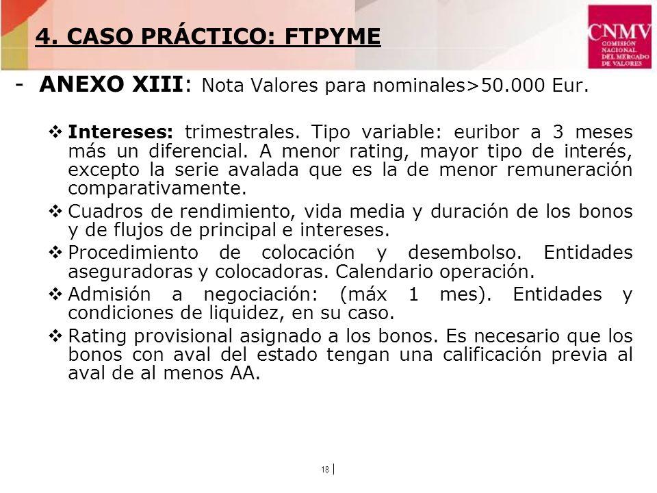18 -ANEXO XIII: Nota Valores para nominales>50.000 Eur.