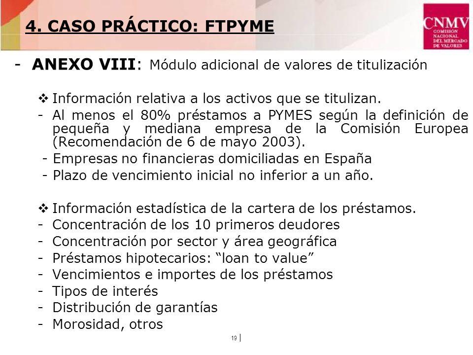 19 -ANEXO VIII: Módulo adicional de valores de titulización Información relativa a los activos que se titulizan.
