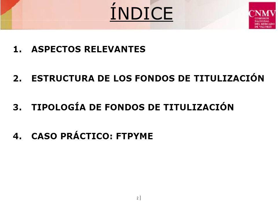 2 ÍNDICE 1.ASPECTOS RELEVANTES 2.ESTRUCTURA DE LOS FONDOS DE TITULIZACIÓN 3.TIPOLOGÍA DE FONDOS DE TITULIZACIÓN 4.CASO PRÁCTICO: FTPYME