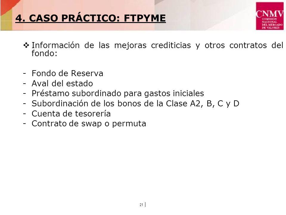 21 Información de las mejoras crediticias y otros contratos del fondo: -Fondo de Reserva -Aval del estado -Préstamo subordinado para gastos iniciales -Subordinación de los bonos de la Clase A2, B, C y D -Cuenta de tesorería -Contrato de swap o permuta 4.