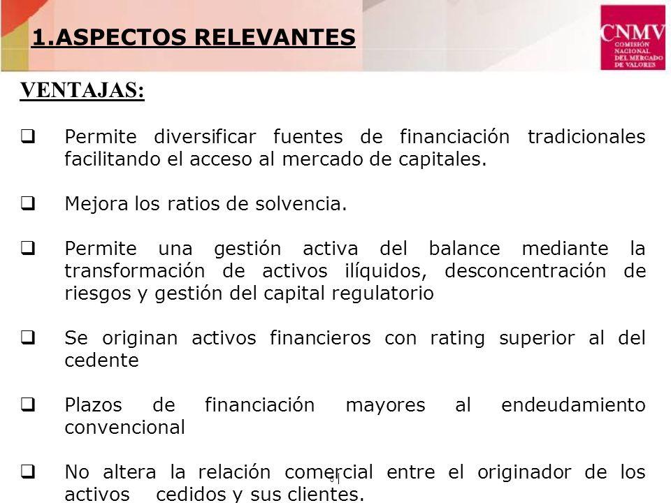 6 VENTAJAS: Permite diversificar fuentes de financiación tradicionales facilitando el acceso al mercado de capitales.