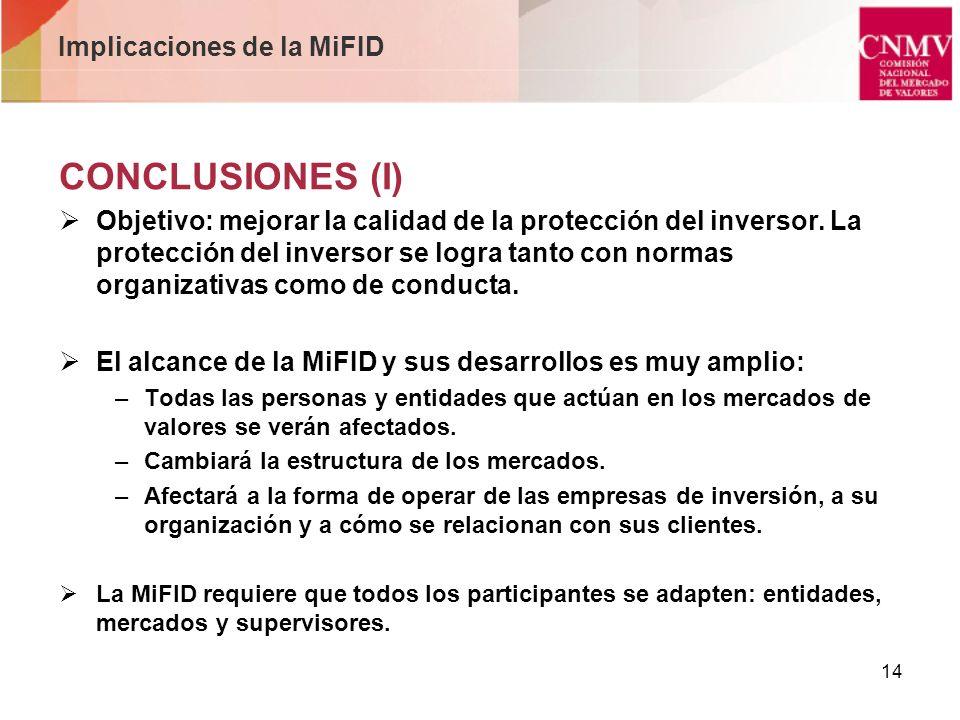 14 Implicaciones de la MiFID CONCLUSIONES (I) Objetivo: mejorar la calidad de la protección del inversor. La protección del inversor se logra tanto co