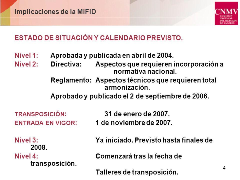 4 Implicaciones de la MiFID ESTADO DE SITUACIÓN Y CALENDARIO PREVISTO. Nivel 1:Aprobada y publicada en abril de 2004. Nivel 2:Directiva:Aspectos que r