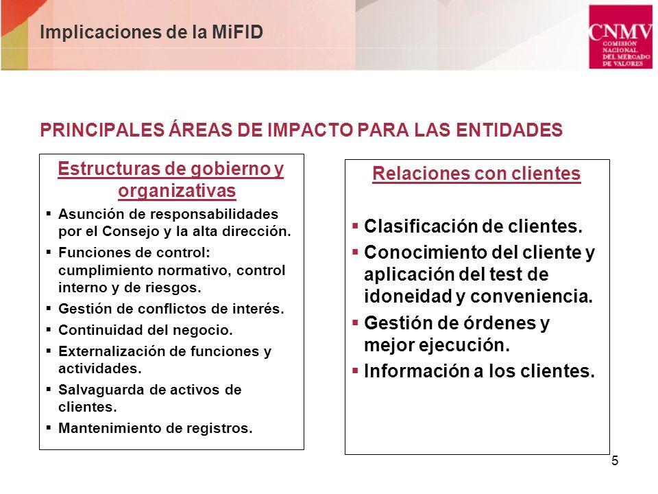 5 PRINCIPALES ÁREAS DE IMPACTO PARA LAS ENTIDADES Estructuras de gobierno y organizativas Asunción de responsabilidades por el Consejo y la alta direc