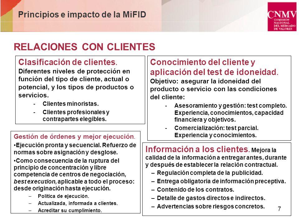 7 Principios e impacto de la MiFID RELACIONES CON CLIENTES Clasificación de clientes. Diferentes niveles de protección en función del tipo de cliente,