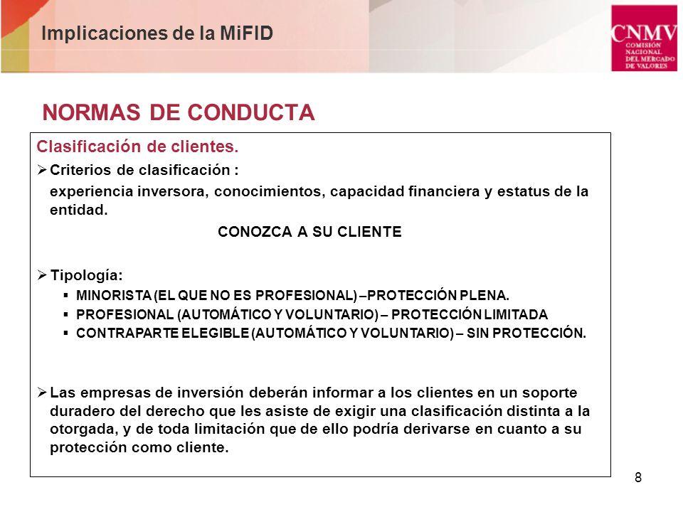 9 NORMAS DE CONDUCTA Conocimiento del cliente – Disposiciones comunes.