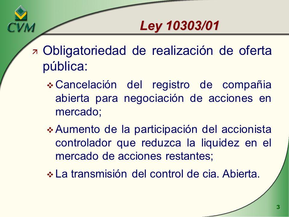3 Ley 10303/01 ä Obligatoriedad de realización de oferta pública: v Cancelación del registro de compañia abierta para negociación de acciones en mercado; v Aumento de la participación del accionista controlador que reduzca la liquidez en el mercado de acciones restantes; v La transmisión del control de cia.