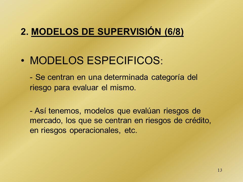13 2. MODELOS DE SUPERVISIÓN (6/8) MODELOS ESPECIFICOS : - Se centran en una determinada categoría del riesgo para evaluar el mismo. - Así tenemos, mo