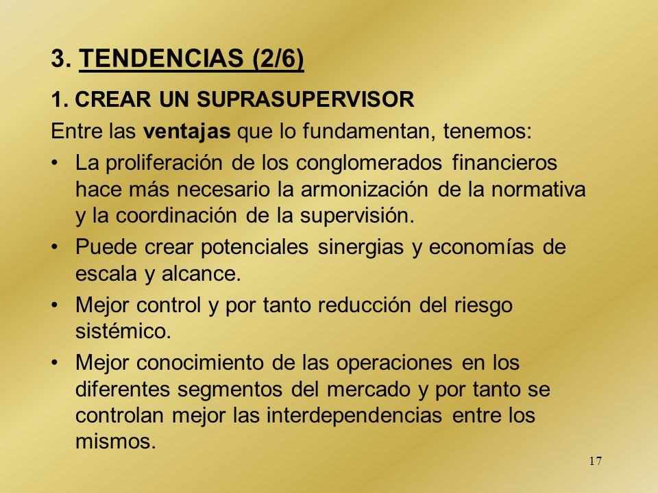 17 3. TENDENCIAS (2/6) 1. CREAR UN SUPRASUPERVISOR Entre las ventajas que lo fundamentan, tenemos: La proliferación de los conglomerados financieros h