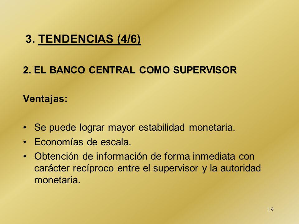 19 3. TENDENCIAS (4/6) 2. EL BANCO CENTRAL COMO SUPERVISOR Ventajas: Se puede lograr mayor estabilidad monetaria. Economías de escala. Obtención de in