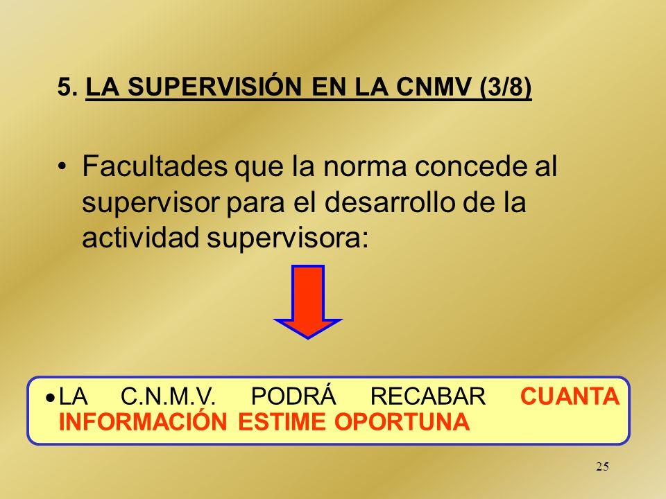 25 5. LA SUPERVISIÓN EN LA CNMV (3/8) Facultades que la norma concede al supervisor para el desarrollo de la actividad supervisora: LA C.N.M.V. PODRÁ