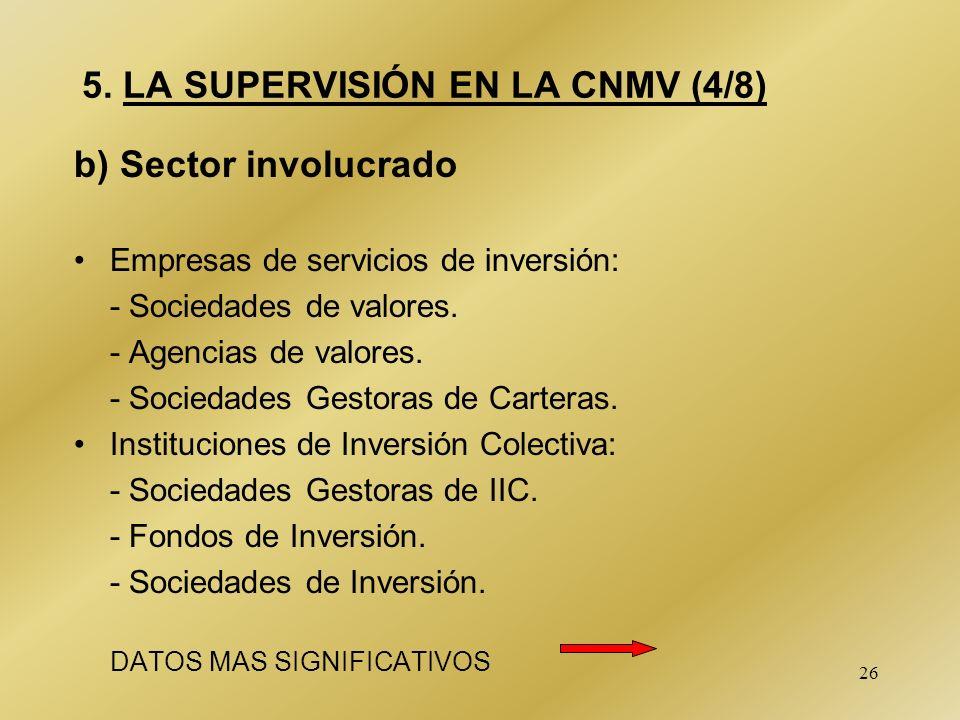 26 5. LA SUPERVISIÓN EN LA CNMV (4/8) b) Sector involucrado Empresas de servicios de inversión: - Sociedades de valores. - Agencias de valores. - Soci