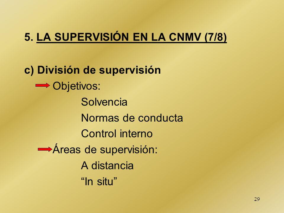 29 5. LA SUPERVISIÓN EN LA CNMV (7/8) c) División de supervisión Objetivos: Solvencia Normas de conducta Control interno Áreas de supervisión: A dista