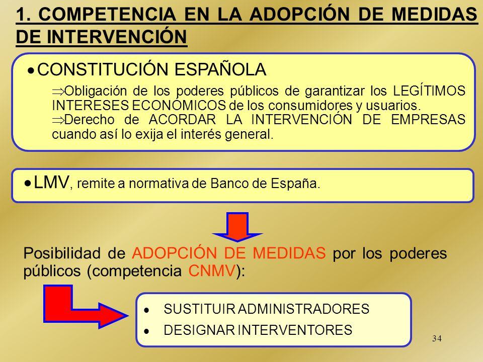 34 1. COMPETENCIA EN LA ADOPCIÓN DE MEDIDAS DE INTERVENCIÓN CONSTITUCIÓN ESPAÑOLA Obligación de los poderes públicos de garantizar los LEGÍTIMOS INTER