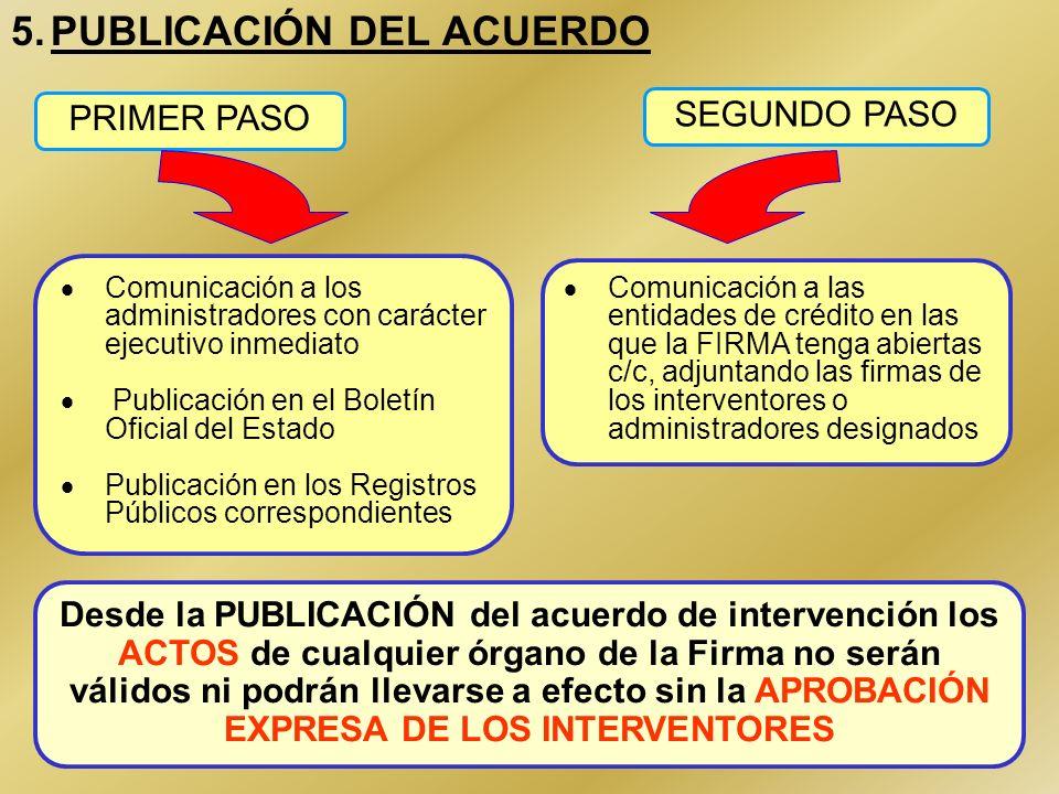 38 5.PUBLICACIÓN DEL ACUERDO Comunicación a los administradores con carácter ejecutivo inmediato Publicación en el Boletín Oficial del Estado Publicac