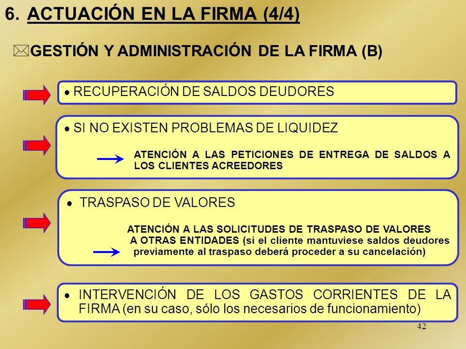 42 6. ACTUACIÓN EN LA FIRMA (4/4) RECUPERACIÓN DE SALDOS DEUDORES *GESTIÓN Y ADMINISTRACIÓN DE LA FIRMA (B) TRASPASO DE VALORES ATENCIÓN A LAS SOLICIT