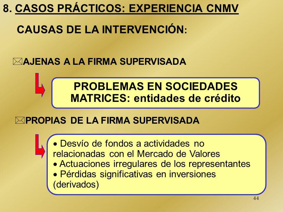 44 8. CASOS PRÁCTICOS: EXPERIENCIA CNMV Desvío de fondos a actividades no relacionadas con el Mercado de Valores Actuaciones irregulares de los repres