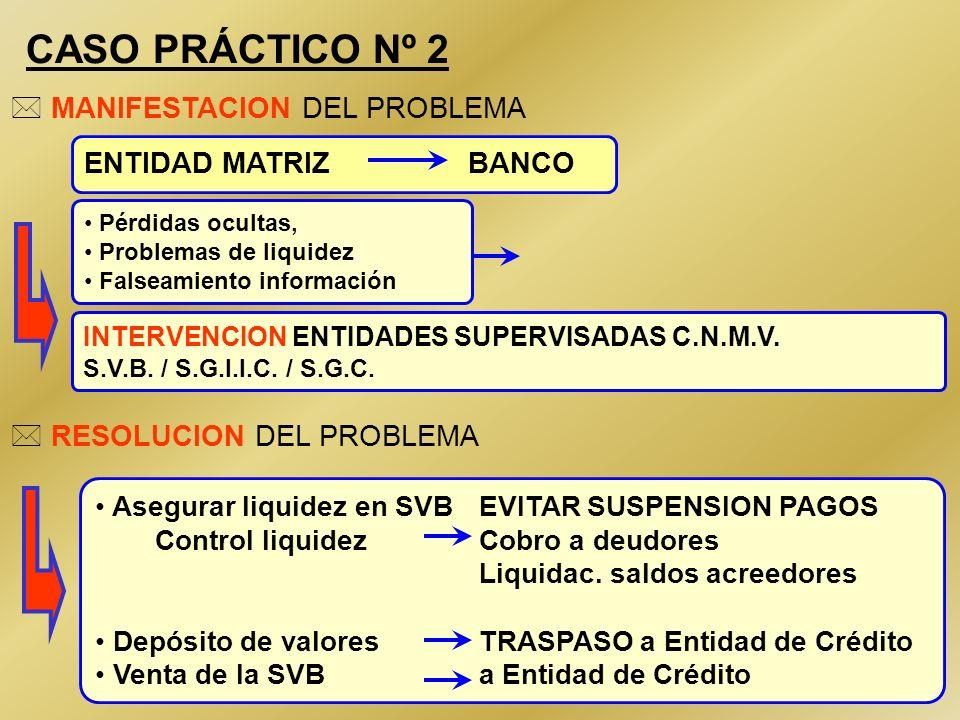 46 CASO PRÁCTICO Nº 2 Pérdidas ocultas, Problemas de liquidez Falseamiento información ENTIDAD MATRIZ BANCO * RESOLUCION DEL PROBLEMA * MANIFESTACION