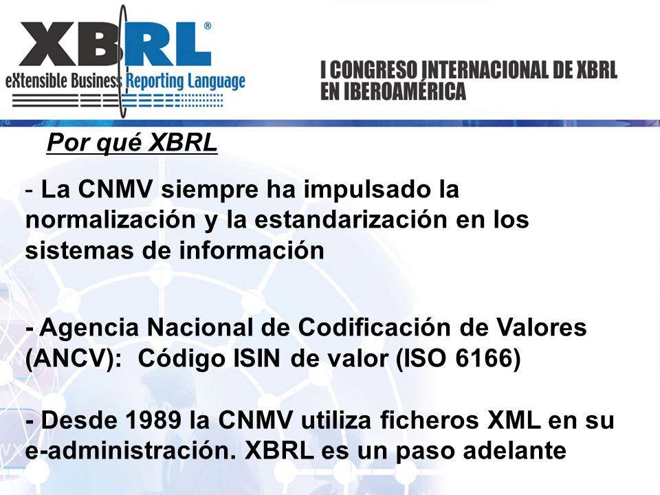 Por qué XBRL - La CNMV siempre ha impulsado la normalización y la estandarización en los sistemas de información - Agencia Nacional de Codificación de