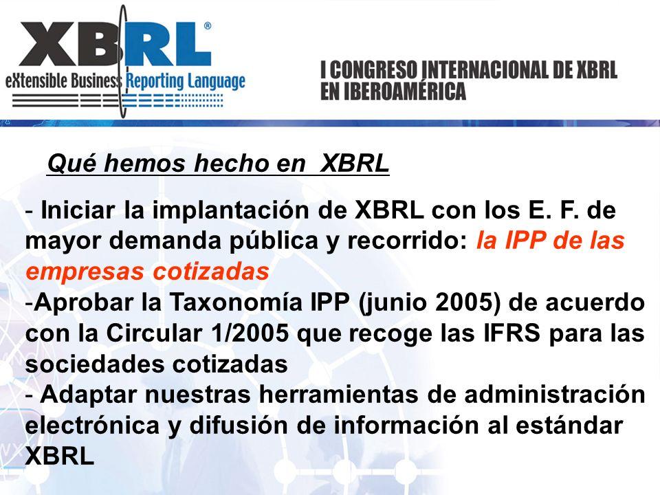Qué hemos hecho en XBRL - Iniciar la implantación de XBRL con los E. F. de mayor demanda pública y recorrido: la IPP de las empresas cotizadas -Aproba