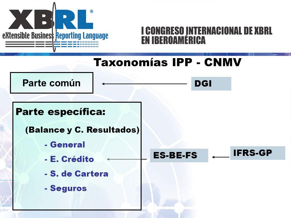Taxonomías IPP - CNMV ES-BE-FS IFRS-GP Parte común DGI Parte específica: (Balance y C. Resultados) - General - E. Crédito - S. de Cartera - Seguros