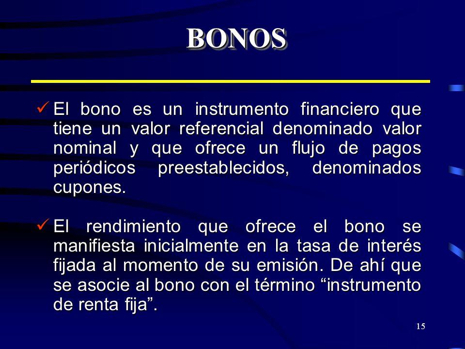 15 BONOSBONOS El bono es un instrumento financiero que tiene un valor referencial denominado valor nominal y que ofrece un flujo de pagos periódicos p