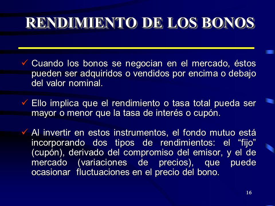 16 RENDIMIENTO DE LOS BONOS Cuando los bonos se negocian en el mercado, éstos pueden ser adquiridos o vendidos por encima o debajo del valor nominal.