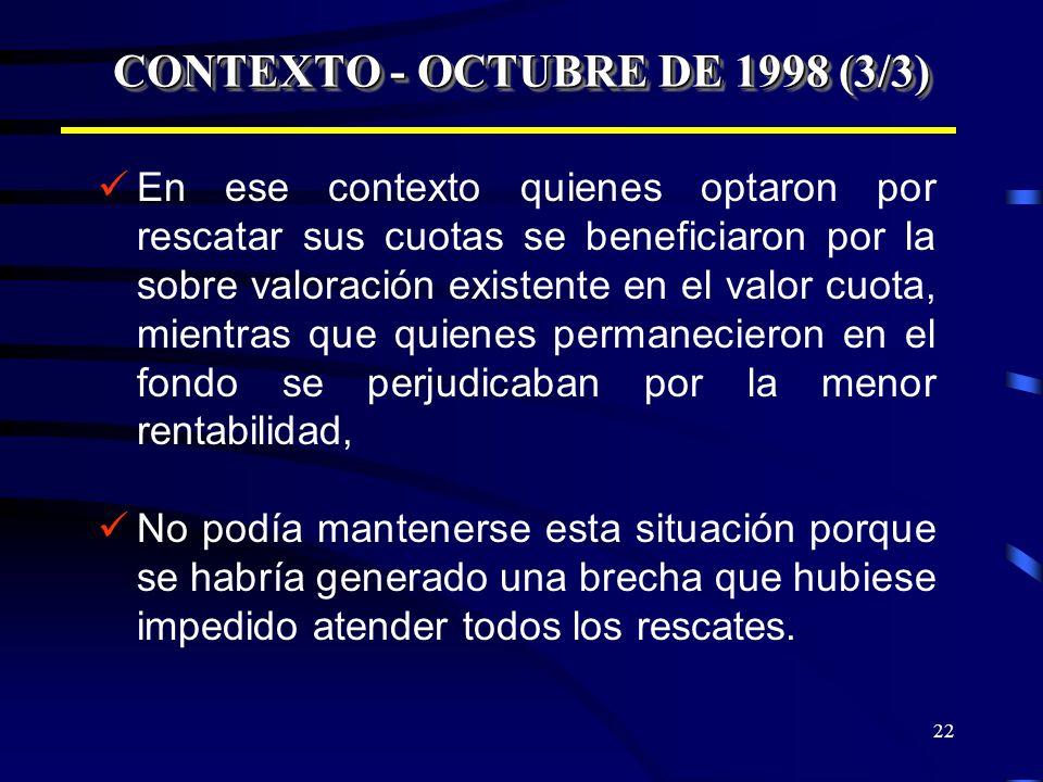 22 CONTEXTO - OCTUBRE DE 1998 (3/3) En ese contexto quienes optaron por rescatar sus cuotas se beneficiaron por la sobre valoración existente en el va