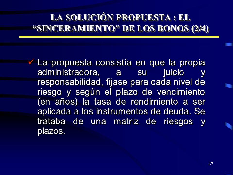 27 LA SOLUCIÓN PROPUESTA : EL SINCERAMIENTO DE LOS BONOS (2/4) La propuesta consistía en que la propia administradora, a su juicio y responsabilidad,