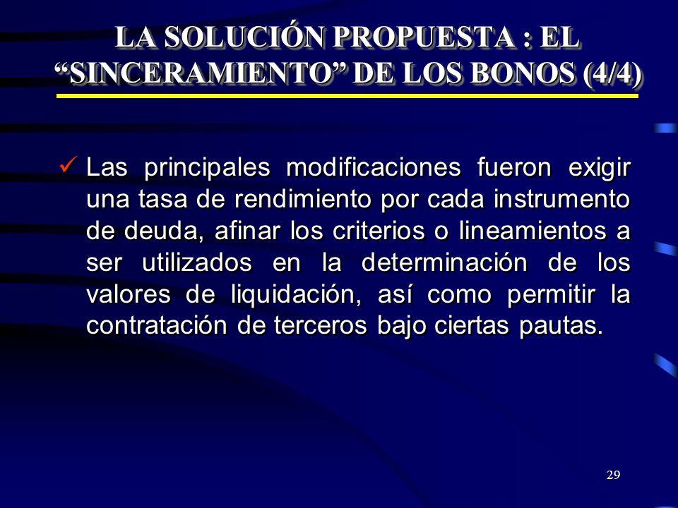 29 LA SOLUCIÓN PROPUESTA : EL SINCERAMIENTO DE LOS BONOS (4/4) Las principales modificaciones fueron exigir una tasa de rendimiento por cada instrumen