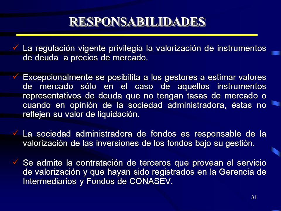 31 RESPONSABILIDADESRESPONSABILIDADES La regulación vigente privilegia la valorización de instrumentos de deuda a precios de mercado. La regulación vi