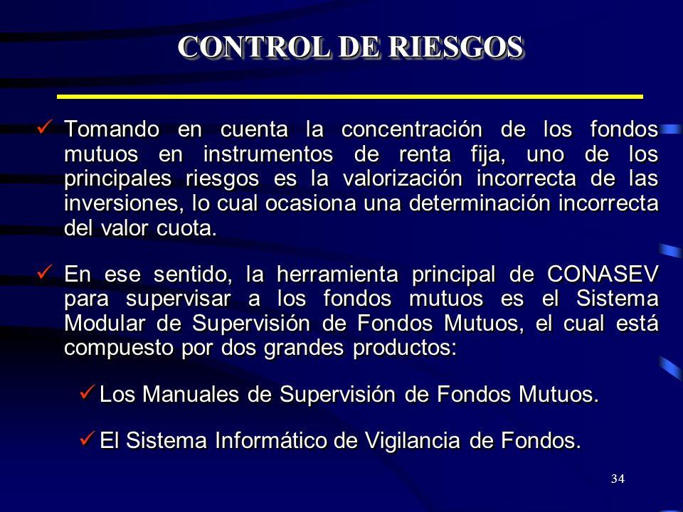 34 CONTROL DE RIESGOS Tomando en cuenta la concentración de los fondos mutuos en instrumentos de renta fija, uno de los principales riesgos es la valo
