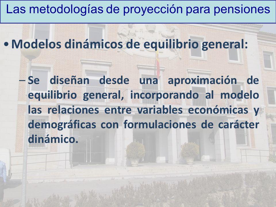 Las metodologías de proyección para pensiones Modelos dinámicos de equilibrio general: –Se diseñan desde una aproximación de equilibrio general, incor