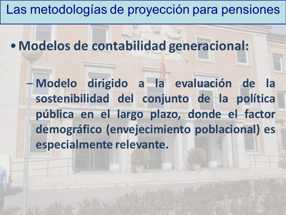 Las metodologías de proyección para pensiones Modelos de contabilidad generacional: –Modelo dirigido a la evaluación de la sostenibilidad del conjunto