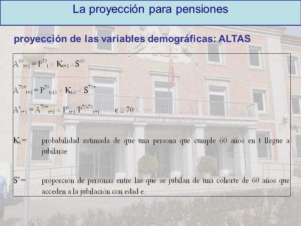 proyección de las variables demográficas: ALTAS La proyección para pensiones