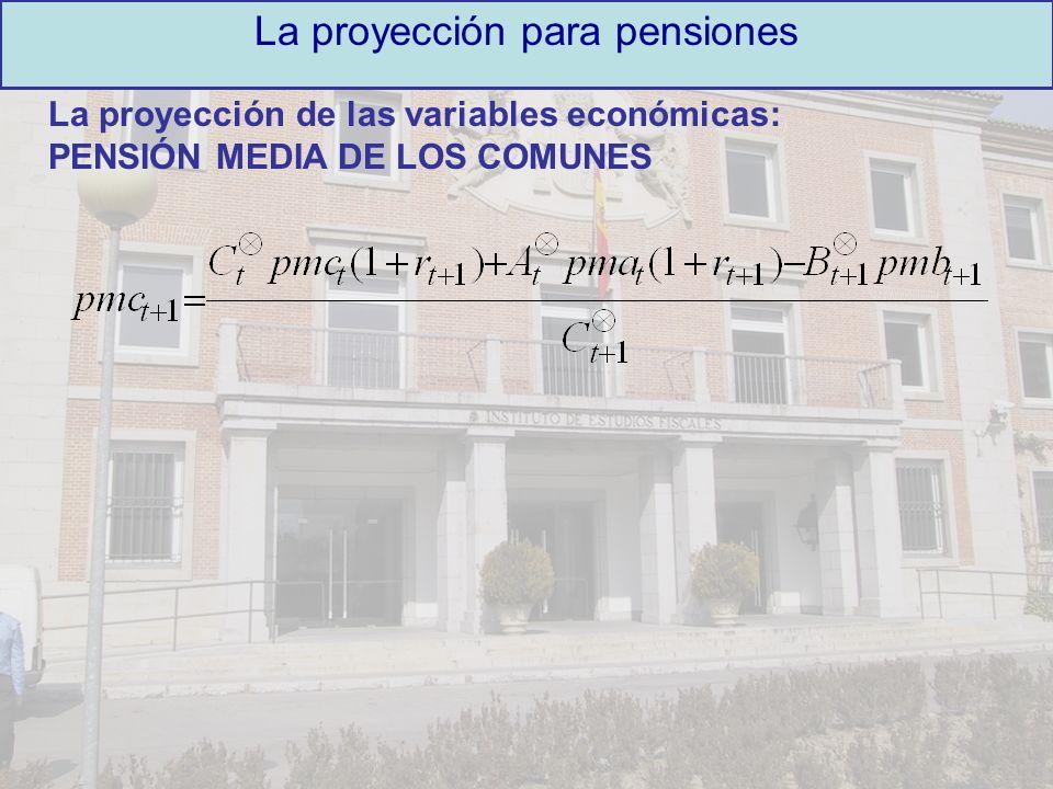 La proyección de las variables económicas: PENSIÓN MEDIA DE LOS COMUNES La proyección para pensiones