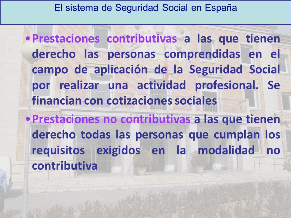 El sistema de Seguridad Social en España Prestaciones contributivas a las que tienen derecho las personas comprendidas en el campo de aplicación de la