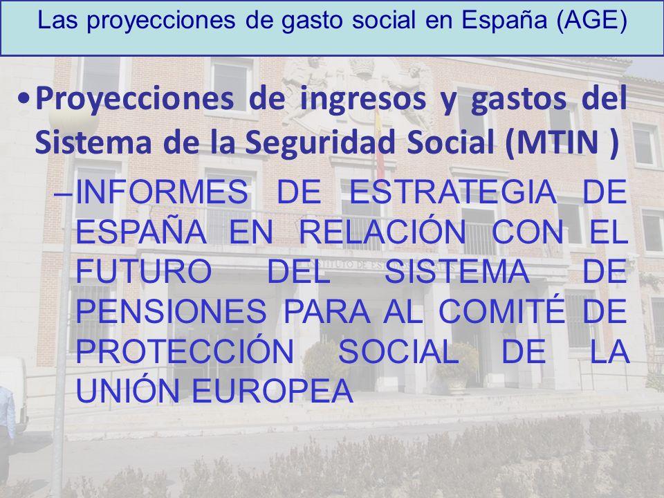 Las proyecciones de gasto social en España (AGE) Proyecciones del Grupo de Trabajo de Envejecimiento de la Unión Europea: –INFORMES DEL COMITÉ DE POLÍTICA ECONÓMICA Y LA COMISIÓN EUROPEA SOBRE EL IMPACTO DEL ENVEJECIMIENTO DE LA POBLACIÓN EN EL GASTO PÚBLICO: »2001 »2003 »2006 »2009 (previsto)