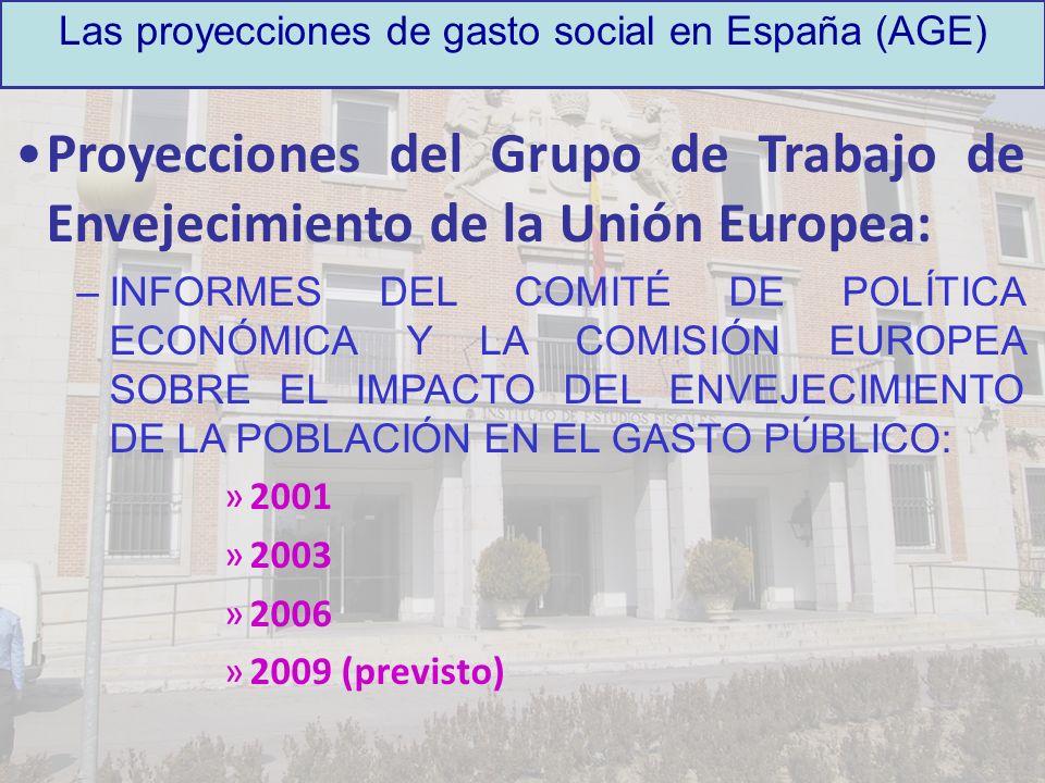 Las proyecciones de gasto social en España (AGE) Proyecciones del Grupo de Trabajo de Envejecimiento de la Unión Europea: –INFORMES DEL COMITÉ DE POLÍ