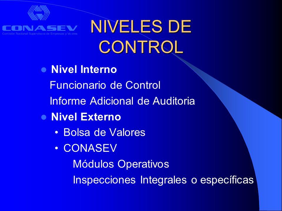 CONTROL INTERNO Funcionario de Control Responsable del cumplimiento de la normatividad, procedimientos y sistemas de control internos del intermediario.