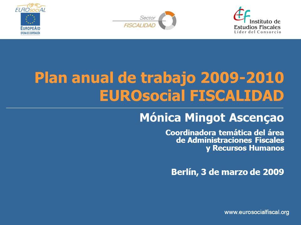 www.eurosocialfiscal.org Plan anual de trabajo 2009-2010 EUROsocial FISCALIDAD Mónica Mingot Ascençao Coordinadora temática del área de Administracion