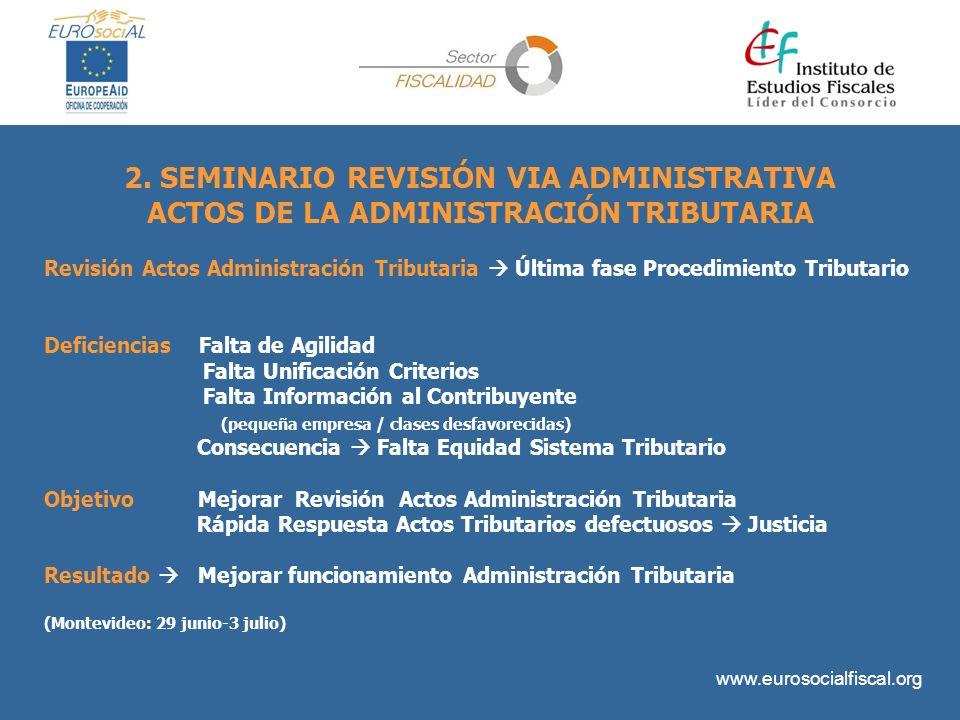 www.eurosocialfiscal.org 2. SEMINARIO REVISIÓN VIA ADMINISTRATIVA ACTOS DE LA ADMINISTRACIÓNTRIBUTARIA Revisión Actos Administración Tributaria Última