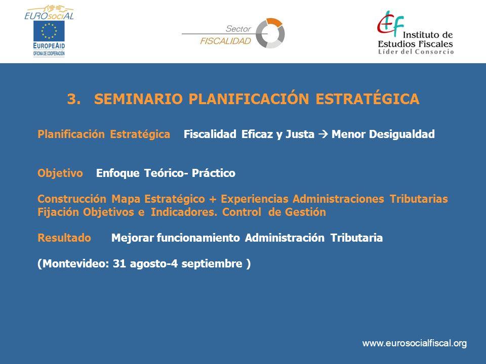 www.eurosocialfiscal.org 3. SEMINARIO PLANIFICACIÓN ESTRATÉGICA Planificación Estratégica Fiscalidad Eficaz y Justa Menor Desigualdad Objetivo Enfoque