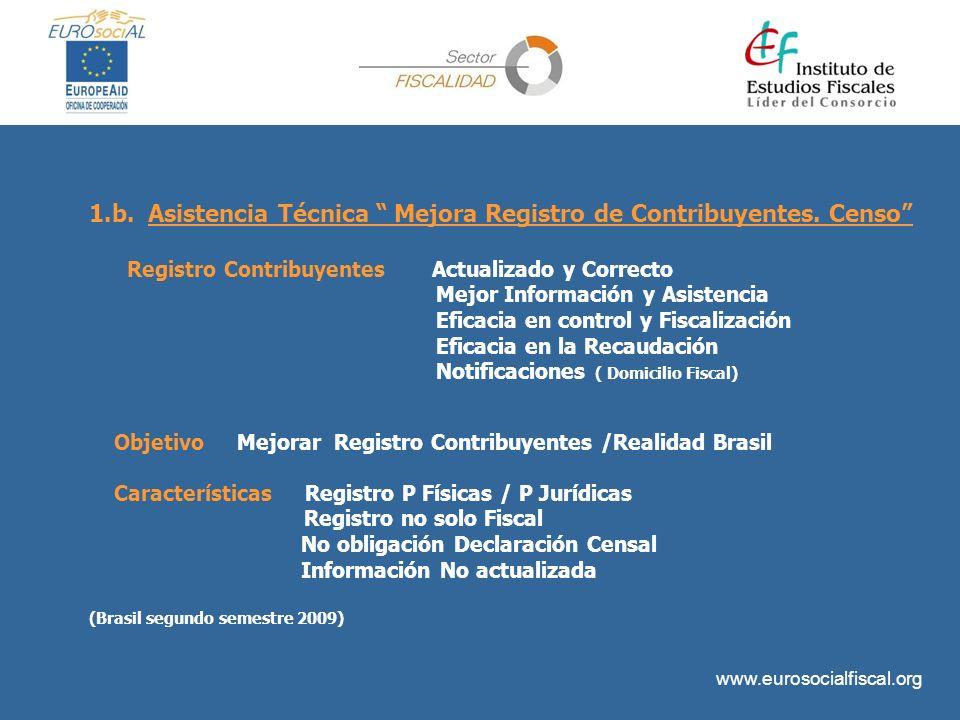 www.eurosocialfiscal.org 1.b. Asistencia Técnica Mejora Registro de Contribuyentes. Censo Registro Contribuyentes Actualizado y Correcto Mejor Informa