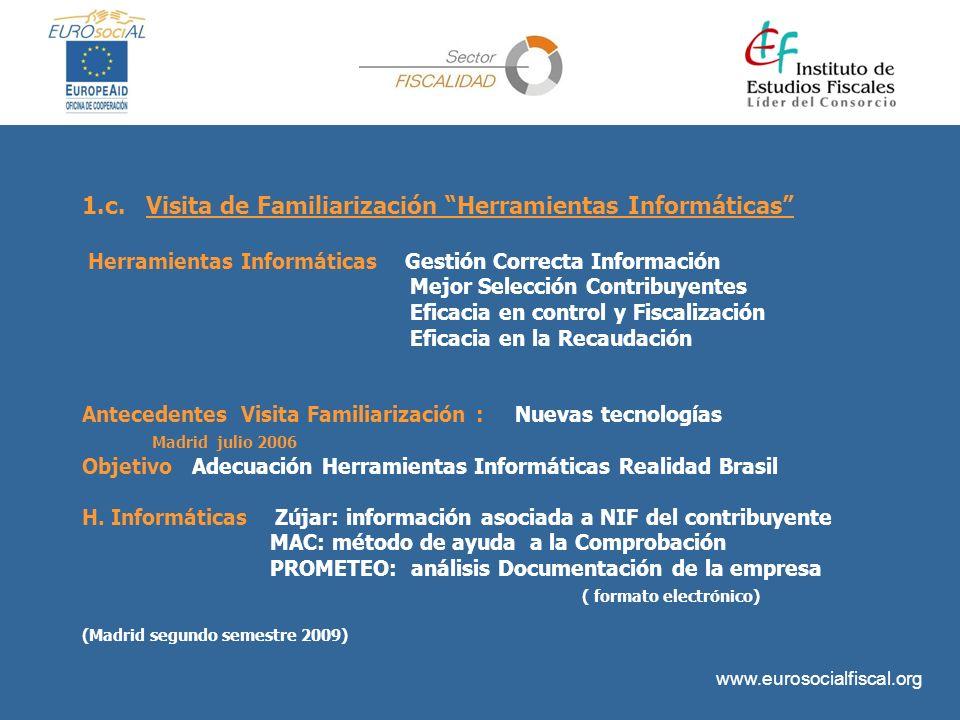 www.eurosocialfiscal.org 1.c. Visita de Familiarización Herramientas Informáticas Herramientas Informáticas Gestión Correcta Información Mejor Selecci