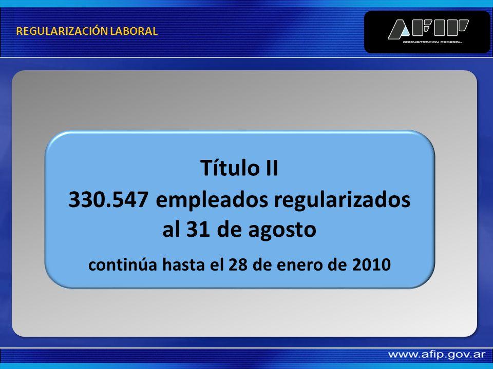 330.547 empleados regularizados al 31 de agosto continúa hasta el 28 de enero de 2010 Título II REGULARIZACIÓN LABORAL