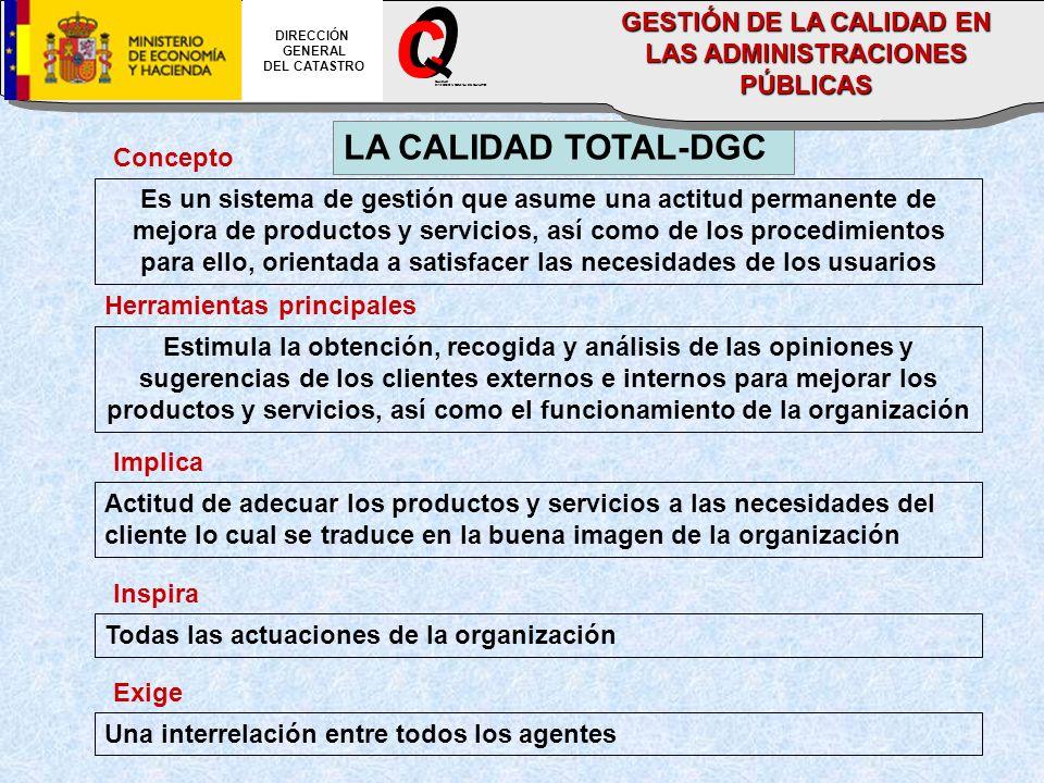 LA CALIDAD TOTAL-DGC Concepto Es un sistema de gestión que asume una actitud permanente de mejora de productos y servicios, así como de los procedimie